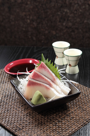 A cuisine photo of yellowtail sashimi Stock Photo