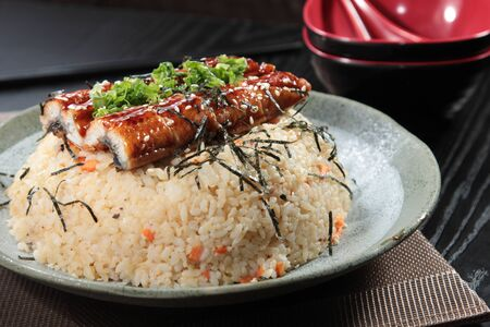 A cuisine photo of eel rice Stock Photo