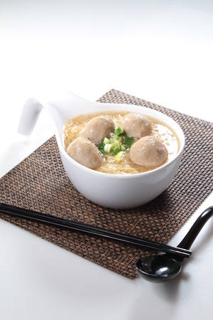 A cuisine photo of meat ball noodles Stock Photo