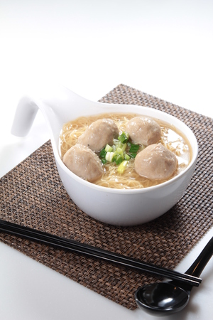 cooked rice: A cuisine photo of meat ball noodles Stock Photo