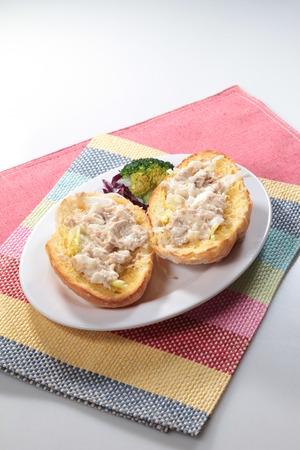 A cuisine photo of egg salad bread Stock Photo