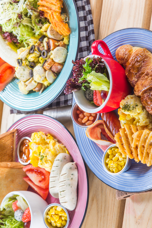 side dish: A cuisine photo of all day breakfast Stock Photo