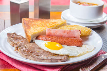 cooked meat: A cuisine photo of all day breakfast Stock Photo