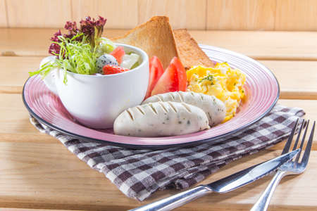 sunny side up: A cuisine photo of all day breakfast Stock Photo