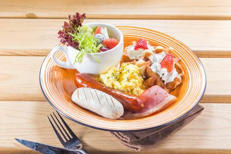 A cuisine photo of all day breakfast Banco de Imagens