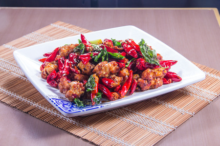 A cuisine photo of chili chicken