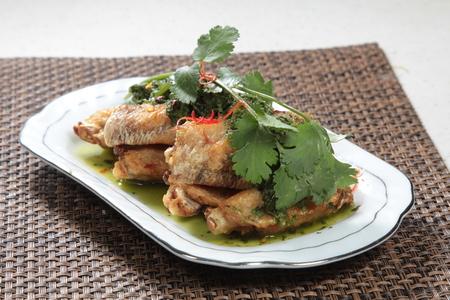 A cuisine photo of deep fried chicken