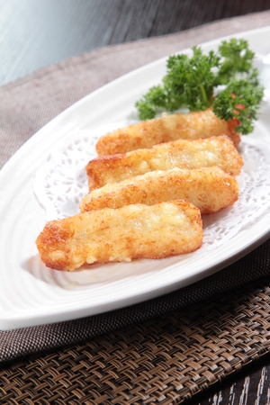 A cuisine photo of deep fried fish. Stock Photo