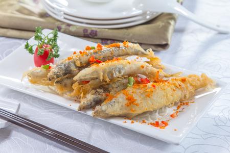 A cuisine photo of deep fried fish