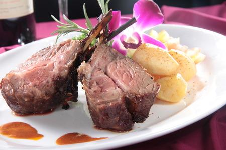 a cuisine photo of lamb chop Stock Photo