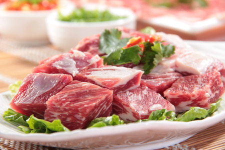 grill: a cuisine photo of raw beef