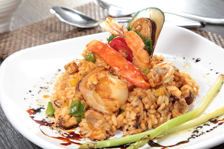 wild mushrooms: a cuisine photo of risotto