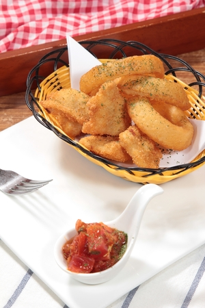 Tasty homemade appetizer in a basket