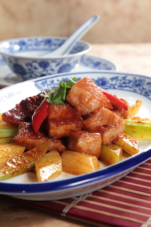 Tasty sweet and sour pork served in a plate