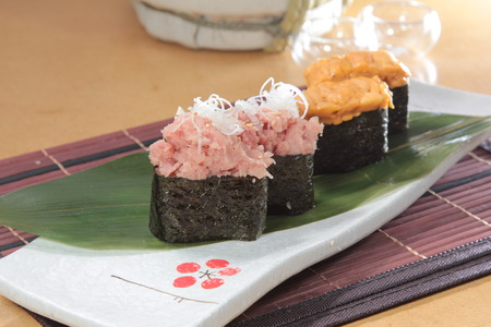 a cuisine photo of warship sushi Stock Photo