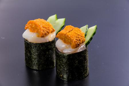 a cuisine photo of warship sushi Stock Photo