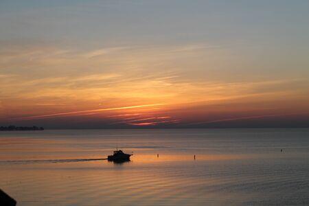 Boating sunrise