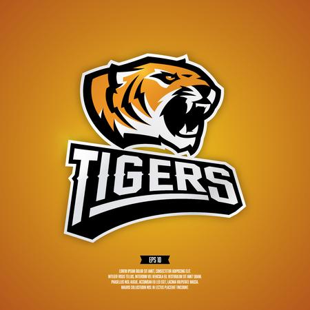 team sports: logotipo del béisbol profesional para equipo deportivo. Ilustración de un tigre en el fondo de color naranja. Vectores