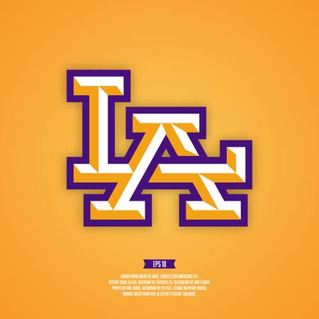 league: LA logo. Modern professional sport style logo. Los angeles baseball logo. American sport logo. Illustration