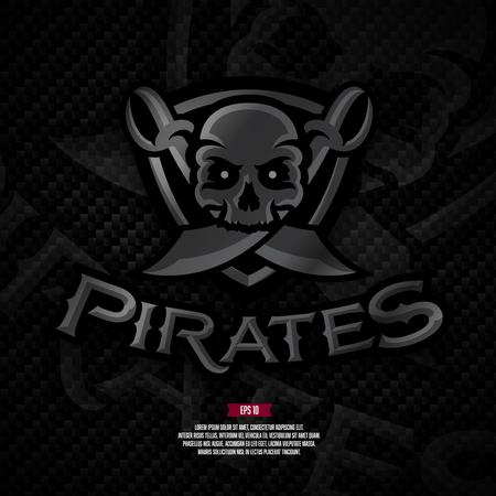 Pirates football logo on carbon background. Modern professional logo. American sport logo. Иллюстрация