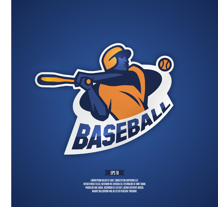 team sports: logotipo del béisbol profesional para equipo deportivo. Ilustración de un jugador de béisbol.
