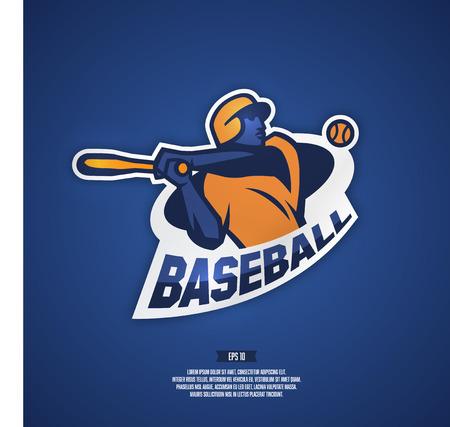 Modern professional baseball logo for sports team. Illustration of a baseball player.