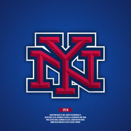 ny: New york city baseball logo. Modern professional sport style logo. American sport logo. NY monogram.