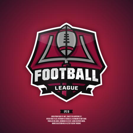 league: Modern professional logo for a football team. Football league logo. Illustration