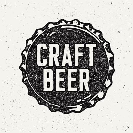 Vintage Style Craft Beer Sign. Ink stamp designs. Иллюстрация