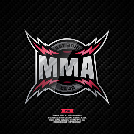 Modern professional design for a MMA club. Mixed martial art sign.