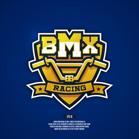 Modern professional BMX . Bicycle Moto Extreme badge. Ilustrace