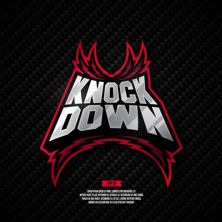 Modern professional fighting design. Knock down sign. 矢量图像