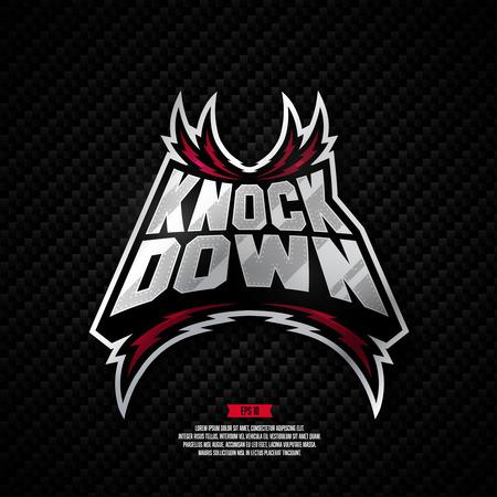 Modern professional fighting design. Knock down sign. Иллюстрация