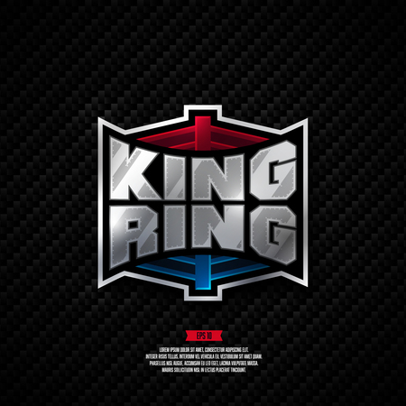 Modern professional fighting design. King ring boxing sign.
