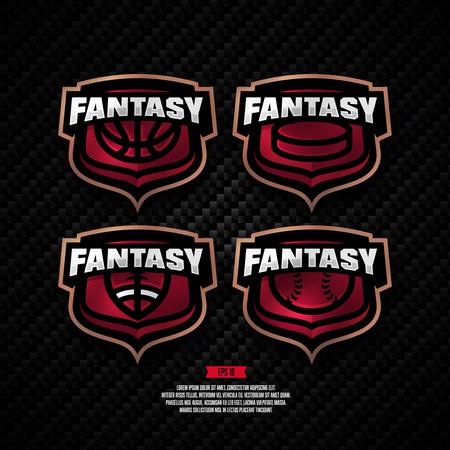 Modern professional fantasy sports logo design. Basketball, hockey, american football, baseball, sign.