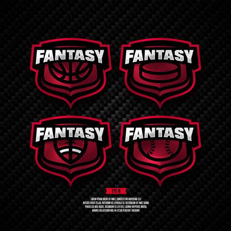 Modern professional fantasy sports design. Basketball, hockey, american football, baseball, sign.