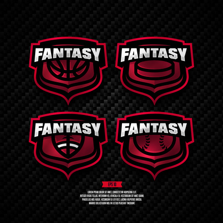 playoff: Modern professional fantasy sports design. Basketball, hockey, american football, baseball, sign.
