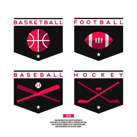 Modern professional flat style logo set. Basketball, american football, baseball, hockey.
