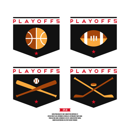 Modern professional playoffs sports logo design. Basketball, hockey, american football, baseball, sign.