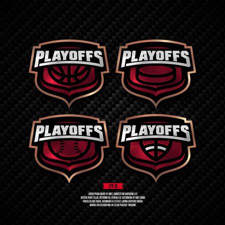 Modern professional playoffs sports design. Basketball, hockey, american football, baseball, sign. Иллюстрация