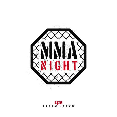 Modern professional fighting logo design. MMA night sign.