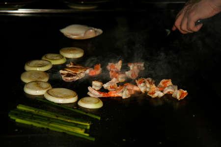 가마쿠라, 일본에서 즐기는 화로 그릴 스톡 콘텐츠