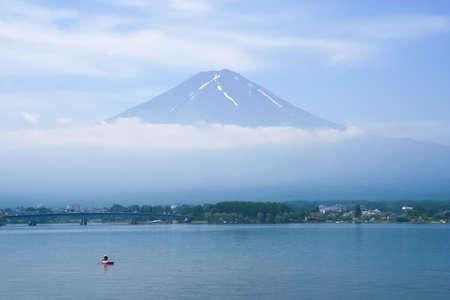 Kawaguchi Lake infront of mount Fuji and fisherman Stock Photo - 15295645