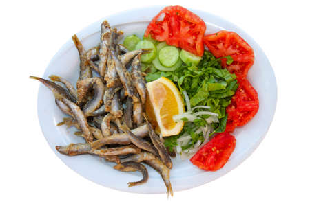 smelt: Fried fishes with salad