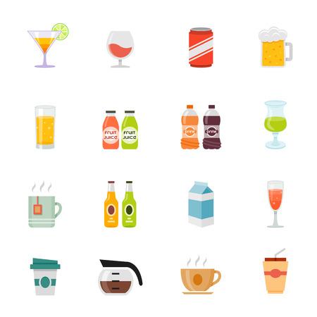 full color: Beverage full color flat design icon illustration
