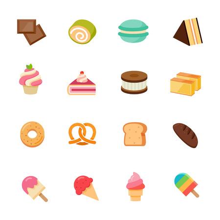 full color: Dessert full color flat design icon illustration Illustration