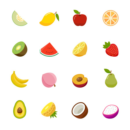 exotic fruits: Fruit full color flat design icon illustration