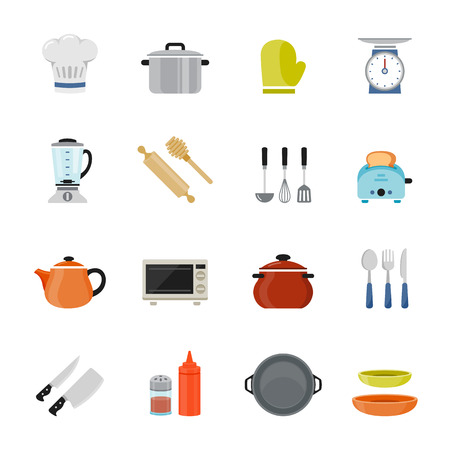the cook: Kitchenware full color flat design icon illustration