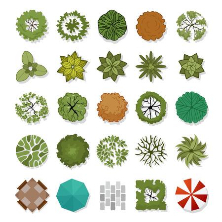 bovenaanzicht plant: landschap ontwerp elementen illustratie