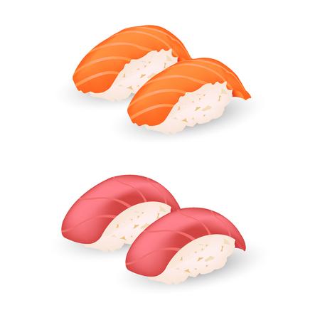 reis gekocht: Lachs und maguro Sushi icon